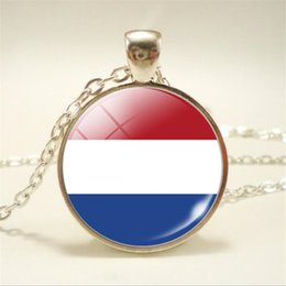 $enCountryForm.capitalKeyWord Australia - 2019 New Silver Netherlands National Flag World Time Gem Glass Cabochon Chokers Necklaces Bijoux For Women Men Chain Collars Jewelry Pendant