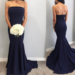 46ba6b2147 Navy Blue Long Strapless Bridesmaid Dress Online Shopping | Navy ...