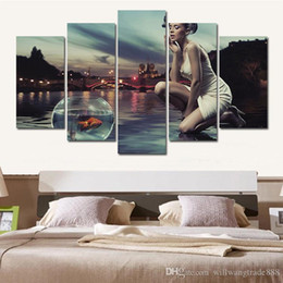 sexy cartoon beautiful UK - 5 Pcs Combinations HD Lovely Beautiful and sexy Lady night scene framed Canvas Painting Wall Decoration Printed Oil Painting poster