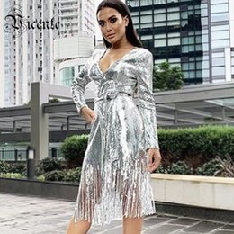 covered belts Australia - Vicente All Free Shipping 2019 New Trendy Silver Sequins Outwear Sexy V Neck With Belt Casual Party Wear Women Long Coat