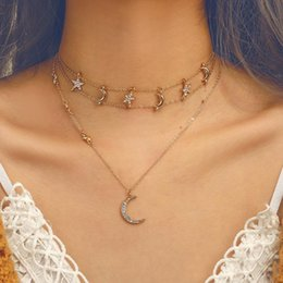 $enCountryForm.capitalKeyWord Australia - Wholesale Creative Multilayer Necklace Chokers for Women Unique Gold Plated Alloy Moon Star Diamond Pendant Necklaces Jewelry Accessories