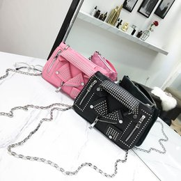 $enCountryForm.capitalKeyWord Australia - Punk Rivet Bag Purses Handbags Women's Bag Motorcycle Design Small Lapel Clothes Shape Bag Chain Crossbody Shoulder Bags