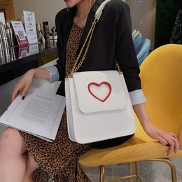 Heart Shaped Bags Australia - Fashion Simple Crossbody Bags 2019 Elegant Party Messenger Bag Casual Small Bag for Women Hollow Out Heart-shaped Square Bag