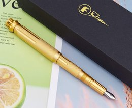 golden gift boxes NZ - Golden Fuliwen 015 Windmill Metal Aluminum Fountain Pen Rotating Ruby Pen Top EF F M Ink Pen, Come with Bag and Gift Box