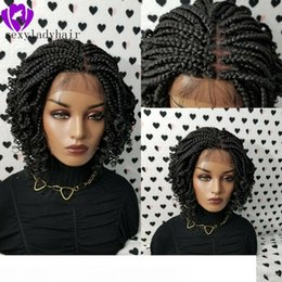 natural braid styles UK - Africa american women braids style handmade full Box Braid wig black brown ombre color short Braided Lace Front Wig With Curly Ends
