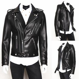 1c069a29d3c 8 Fotos Chaquetas de cuero personalizadas online-Personalice a los hombres  Cool chaqueta de cuero de manga