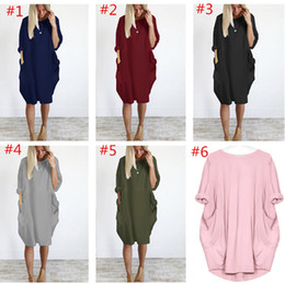 female dresses NZ - Plus Size Women Dress Long Sleeve O-neck Dresses Loose Pocket One Piece Skirt Oversized Midi Dress Party Club Dresses Female Clothing 5XL
