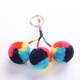 $enCountryForm.capitalKeyWord Australia - Cute Hair Ball Key Chain Multi-Storey Colour Hand-Painted Color Ball Hanging Pendant Keychains Bag Charm Pendant Car Accessories