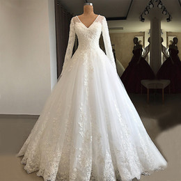 China Gorgeous A-line Long Sleeve Wedding Dresses 2019 V-neck Beaded Lace Lebanon Bridal White Wedding Gowns cheap wedding dresses suppliers