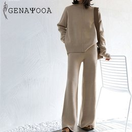 long vest tops for women NZ - Genayooa Winter Tracksuit 2 Piece Pant Suits For Women Knitted Long Sleeve Two Piece Set Top And Pants Women Suit Outwear