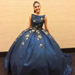 $enCountryForm.capitalKeyWord UK - Gold Appliques Dark Blue Quinceanera Dresses For Juniors Sweet 16 Vestidos de 15 Anos Ball Gown Prom Evening Dresses Formal Wears 2020