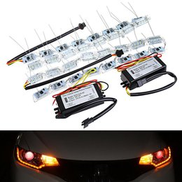 Crystal light strip online shopping - 2PCS Car Flexible Crystal LED DRL Daytime Running Strip Light With Turn Signal Flow Streering Styling White Amber Lamps