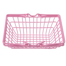 pink toy kitchen NZ - Kids Mini Metal Supermarket Shopping Basket for Kitchen Fruit Vegetable Food Grocery Storage Pretend Play Tools Toy Gifts Pink S
