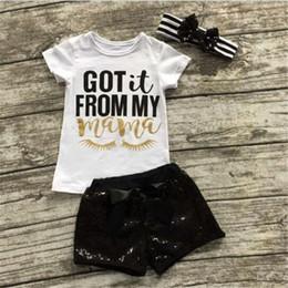 $enCountryForm.capitalKeyWord NZ - Baby Girl Clothing Sets Letter INS 3pc Suit Print Newborn Short Sleeve T-shirt Clothes Sequins Shorts Bow Pants Girls Striped Headband