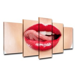 painting canvas lips 2019 - Unframed Canvas Wall Art Oil Painting For Living Room HD Printed 5 Panel Pictures Red Lips Poster Modern Home Decor Gift
