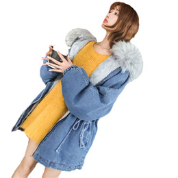 Long Ladies Denim Jacket Australia - Winter Women Outerwear 2019 New Thickening Warm Loose Denim Cotton Jacket Hooded Fur Collar Medium Long Slim Ladies Parkas JIA76