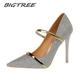 Kleid Bigtree 2019 Hochzeit Kleid Kleid Frauen High Heels Schuhe Frau Pumps Mode Bling Weibliche Sexy Nachtclub Stilettos Schuhe im Angebot