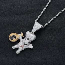 $enCountryForm.capitalKeyWord Australia - New Style 18K Gold Plated Iced Out CZ Zirconia US Dollar Sign Money Bag Doll Pendant Chain Necklace Hip Hop Rapper Jewelry for Men and Women