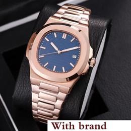 Venta al por mayor de RELOJ DE LUJO Relojes de pulsera Nautilus de alta calidad automáticos, correa de acero inoxidable, oro rosa, deporte, relojes de pulsera para hombres