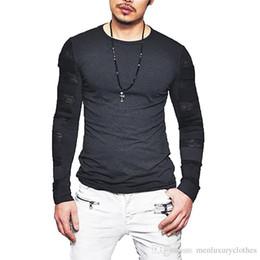 c84ba4ff New Street Male Men Tshirt Long Sleeved Solid Color Autumn Spring T-shirt  Mesh Designer Tops Tee