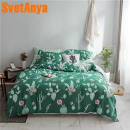 6236336efc2d Svetanya Cactus Bedding Set 100 Cotton Bed Linens Single Double Queen King  size (Duvet Cover+flat Sheet+Pillowcase)