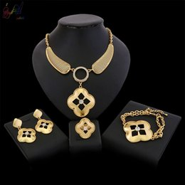 $enCountryForm.capitalKeyWord Australia - Yulaili Flower Shape Crystal Copper Alloy African Jewelry Sets For Women Nigeria Wedding Bridal Pendant Necklace Earrings Bracelet Ring