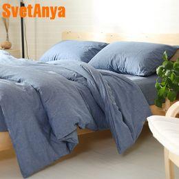 Double Color Bedding Australia - Svetanya Yarn-dyed Bedding Sets Queen Full King Double size 100% Cotton Duvet Cover Bedsheet Pillowcase 4pc Bedlinen Solid Color