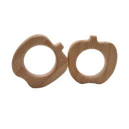 Cartoon Nature UK - 4pcs Wooden Pear Teethers Nature Baby Teething Toy Organic Eco-friendly Wood Teething Holder Nursing Baby Teether DIY Accessories