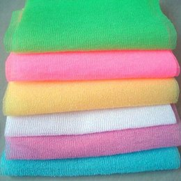$enCountryForm.capitalKeyWord Australia - 30*90cm Salux Nylon Japanese Exfoliating Beauty Skin Bath Shower Wash Cloth Towel Back Scrub Bath Brushes Multi Colors LX7622
