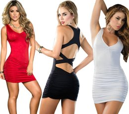 $enCountryForm.capitalKeyWord Australia - Eaby Fast Selling Foreign Trade Hot Pure Color V-Collar Sexy Leaky Back Tight Ultra Short Dresses