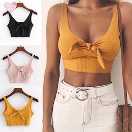 Back slimming vest online shopping - Fit Tank Pure Color Spaghetti Strap Crop Top Back Bow Cami Top Vest Summer Beach Casual Female Slim Tops Tees
