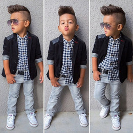 Wholesale jeans boutique resale online – designer 2019 Baby Boys Gentlemen suit coat Plaid shirt jeans Pieces Clothing Sets Kids designer boutique clothes Children Outfits C6285