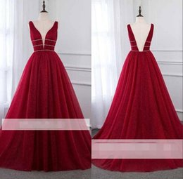 Wholesale Elegant Red A Line Evening Dresses with Beadings Deep V Neck Cut Back Prom Party Gown BC1864