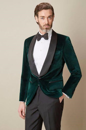 images fashionable suits Australia - Fashionable One Button Dark Green Velvet Wedding Groom Tuxedos Shawl Lapel Groomsmen Men Suits Prom Blazer (Jacket+Pants+Tie) 046