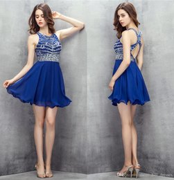 $enCountryForm.capitalKeyWord Australia - 2019 Sexy Royal Blue Short Mini Cocktail Dresses Open Back Handmade Beading Cocktail Party Prom Dresses A-Line Evenging Gowns