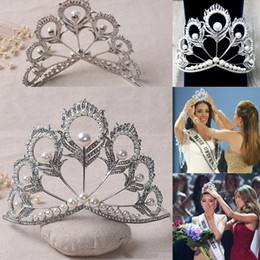 Orange Hair Feathers Australia - 2019 Bling Crystal Bridal Wedding Crowns and Tiaras Pearls Feather Hand Made Miss South Africa Silver Pageant Headpieces For Women Girls