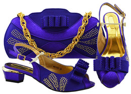 $enCountryForm.capitalKeyWord Australia - New fashion violet lady kitten shoes match handbag set with rhinestone and bowtie style african shoes and bag for dress MM1080