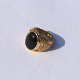 $enCountryForm.capitalKeyWord Australia - Men's Large Vintage 14 k Solid Yellow Gold GF Big Black Agate Stone Ring side ROUND CUT A rank CZ PLATED BRASS