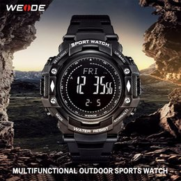 Wholesale WEIDE Men Sports Business Casual PU Strap Electronic Device Meters Water Resistant Analog Digital monitoring Hours Wristwatch
