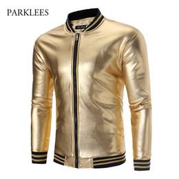 Shiny Gold Nightclub Metallic Jacket Men Autumn Winter Plus Velvet Slim Fit  Striped Bomber Mens Jackets Bronzing Perform Clothes c906359f6
