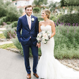$enCountryForm.capitalKeyWord Australia - Summer Beach Groom Tuxedos Men Suits for Wedding Navy Blue Man Item Blazer Bridegroom Jacket Costume Homme 2Piece Slim Fit Terno Masculino