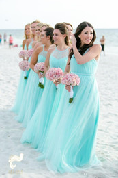 $enCountryForm.capitalKeyWord Australia - Fashion Light Turquoise Bridesmaids Dresses Plus size Beach Tulle Cheap Wedding Guest Party Dress Long Pleated Evening Gowns