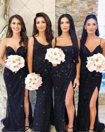 MerMaid sheath wedding dresses short train online shopping - 2019 African Arabic Dubai Mermaid Bridesmaid Dresses spaghetti sexy split with d flower Lace Applique sweep Length Wedding Guest Dresses