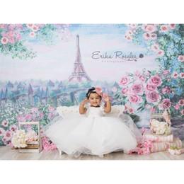 Discount eiffel tower canvas prints MEHOFOTO Vinyl Photographic Backdrop Floral Oil Printed Eiffel Tower Pink Rose European Castle Children Backgrounds Phot