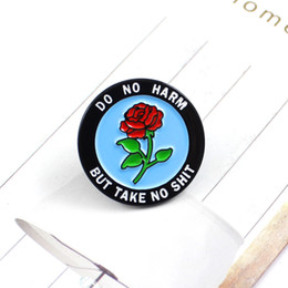 $enCountryForm.capitalKeyWord Canada - Round Rose Badge Enamel Lapel Pin DO NO HARM BUT TAKE NO SHIT Rose Romantic Brooch Denim Backpack Cap Accessories Punk Gifts