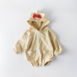 Retail Hair Clips NZ - Retail 2019 Spring Baby Boy Girl Bodysuits Bow Hair Clip Solid Color Long Sleeve Overalls Kids Clothing E82062 Not Have Socks