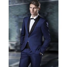 navy blue grey groom tuxedo Australia - Custom Made Groomsmen Shawl Black Lapel Groom Tuxedos Navy Blue Men Suits Wedding Best Man (Jacket+Pants)
