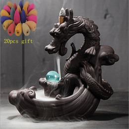 ceramic balls Australia - Backflow Incense Burner + 20Pcs Incense Cones Dragon With Crystal Ball Creative Ceramic Incense Holder Censer Dropshipping SH190926