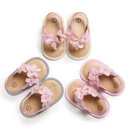Baby Girl Cute Sandals Australia - Baby Girls thong sandals 3 colors flower immitation pearls decoration summer shoes Toddlers cute slip-on sandals 0-18m 2019 summer new