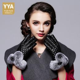 $enCountryForm.capitalKeyWord Australia - 2019 High Quality Luxury Womens Driving Gloves Genuine Leather Plaid Solid Female Short Gloves Fur Motorcycle Luva Feminina